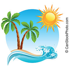 Tropical island - Vector illustration - Two palm-tree on the...