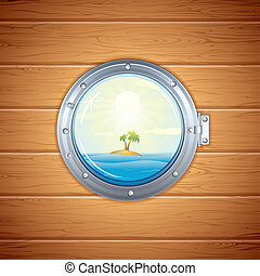 Tropical Island view from Porthole. Vector Image