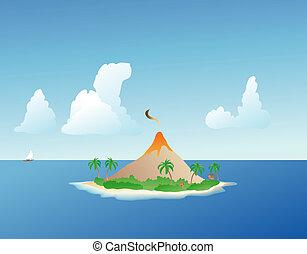 Tropical Island Volcano - smoking volcano on a lush, verdant...