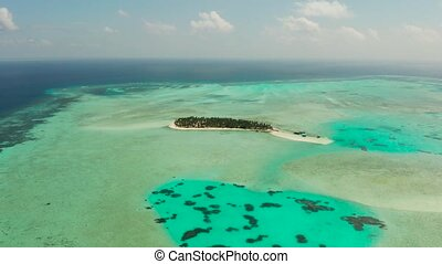 Tropical island with beach and atoll with coral reef. Onok Island Balabac, Philippines.
