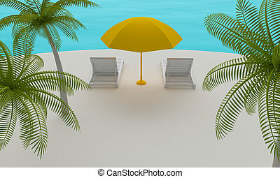 Tropical island with Beach chair and umbrella. 3d rendering