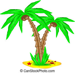 Tropical island with coconut palm