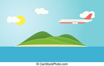 Tropical island with green hills, in the sea under a blue sky with clouds, sun and flying plane