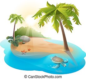 Tropical island with palm tree and turtle