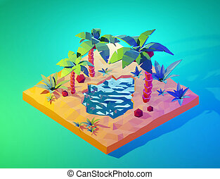 Tropical island with palm trees and sea. 3D render.