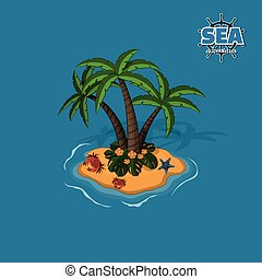Tropical island with palm trees, crabs and sea sta