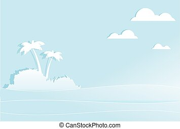 Tropical island with palm trees in middle of sea