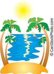 Tropical Island with Palm Trees.Vector image