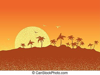 tropical island with palms and sun.Vector sunset poster