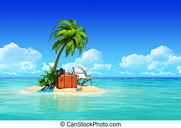 Tropical island with palms, chaise lounge, suitcase. - ...