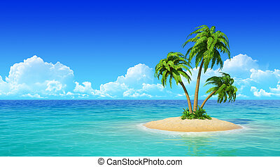 Desert tropical island with palm tree. Concept for rest, holidays, resort.