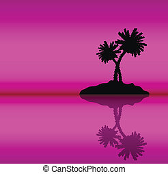Tropical island with palms . Evening.