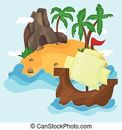 Tropical Island with palms in ocean