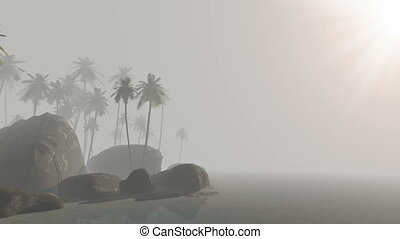 tropical island with palms on sand