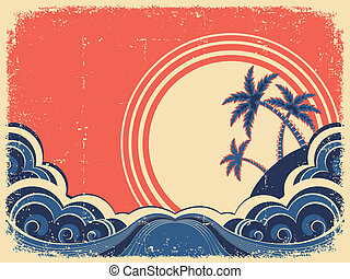 Tropical island with palms.Vector grunge illustration on old...