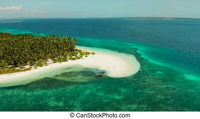 Tropical island with sandy beach by atoll with coral reef and blue sea, aerial view. Patongong Island with sandy beach. Summer and travel vacation concept.
