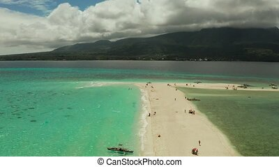 Tropical island with sandy beach. Camiguin, Philippines -...