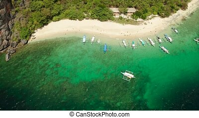 aerial view tropical beach on island with palm trees, blue lagoon and azure clear water. tourist boats on coast tropical island. Helicopter Island in El Nido, Palawan Philippines. Tropical landscape with blue lagoon, coral reef