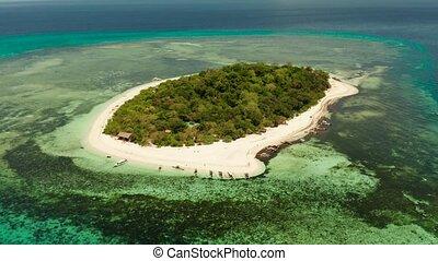 Tropical island with sandy beach. Mantigue Island,...