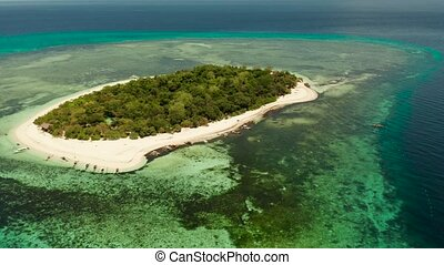 Tropical island in the blue sea with coral reef, top view. Small island with sandy beach. Summer and travel vacation concept, Mantigue island, Philippines, Mindanao
