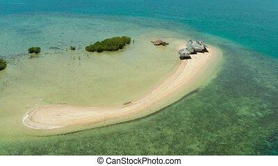 Tropical island with sandy beach. Palawan, Philippines -...
