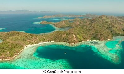 tropical island with sandy beach, Philippines, Palawan -...