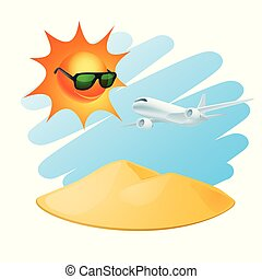 Tropical island with sun and airplane