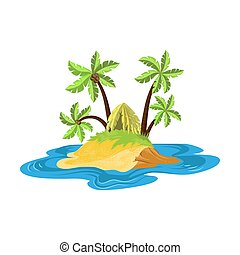 Tropical island with the foliage hut surrounded by palm trees. Vector illustration in flat cartoon style.