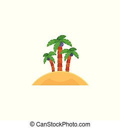 Tropical island with three coconut palm trees