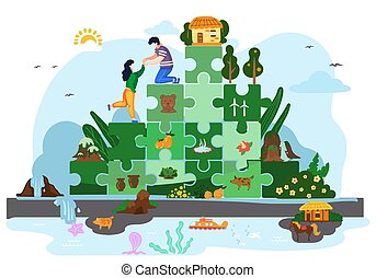 Tropical island with tourists on fantastic mountain of blocks of puzzles and ornamental plants