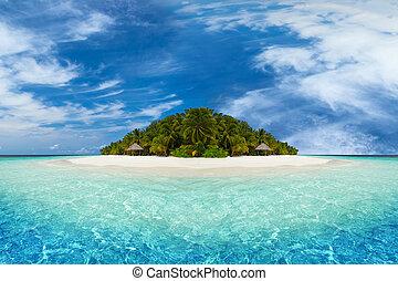 tropical island with white sandy beach