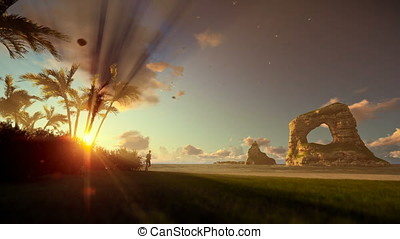 Tropical island with woman running on the beach at sunrise