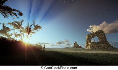 Tropical island with woman running on the beach, morning...