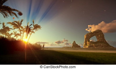 Tropical island with woman running on the beach at sunrise, tilt