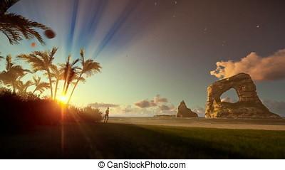 Tropical island with woman running on the beach at sunrise, tilt