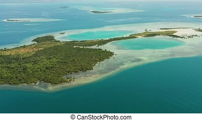 Tropical islands and coral reef, Philippines, Palawan -...
