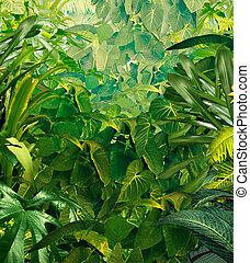 Tropical Jungle Background - Tropical jungle background with...