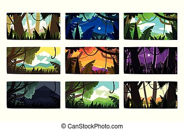 Tropical jungle landscapes set in different different colors and times of day