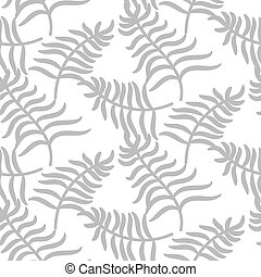 Tropical jungle palm leaves pastel gray color pattern.