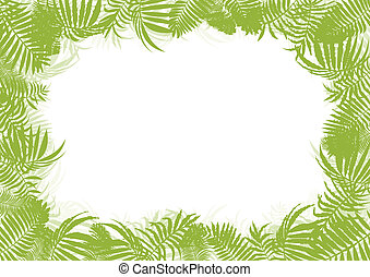 Tropical jungle rain forest vector background blank frame...