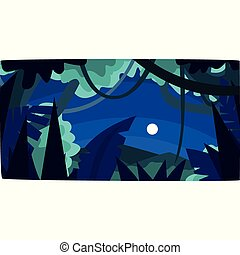 Tropical jungle with wood silhouettes and moon, beautiful tropical forest background at night vector illustration