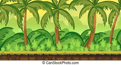 Tropical jungles Landscape For UI Game