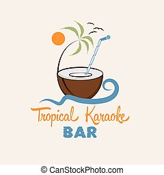 tropical karaoke bar vector design template