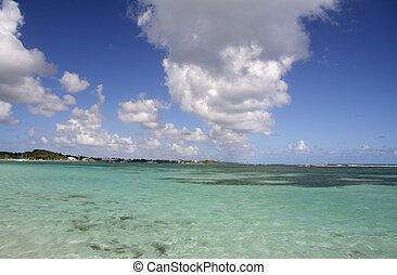 Blue lagoon of a caribbean island