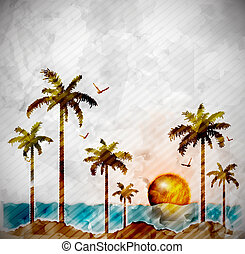 Tropical landscape in watercolor style. Eps 10