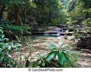 Tropical landscape. Erawan Reserve in northern Thailand.