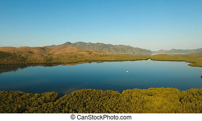 Tropical landscape, mountains, forest, bay. Busuanga,...