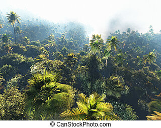 Tropical landscape on the island