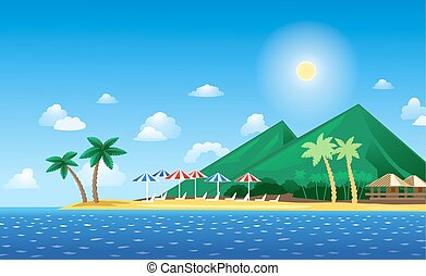 Tropical Landscape with beach, palms and mountains