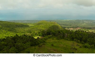 tropical landscape with farmlands Camiguin, Philippines -...